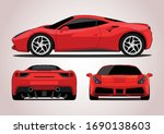 red sports car  view from three ... | Shutterstock .eps vector #1690138603