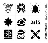 filled christmas 9 vector icons ...
