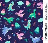 Cute Little Dinosaurs On A Blue ...