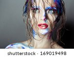 creative art makeup of a young... | Shutterstock . vector #169019498