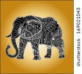 hand drawn elephant with... | Shutterstock .eps vector #169021043