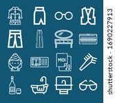 set of 16 stylish outline icons ... | Shutterstock . vector #1690227913