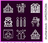 set of 9 religion outline icons ... | Shutterstock . vector #1690254286