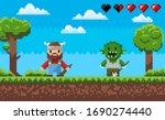 Character In Pixel Game Vector  ...