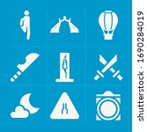 filled outdoor 9 vector icons...