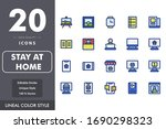 stay at home icon pack isolated ...