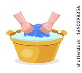 wash clothes in hand wash... | Shutterstock .eps vector #1690298356