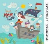 cute mother pirate sailing with ... | Shutterstock .eps vector #1690319656