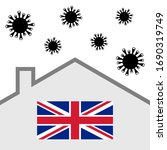 stay at home icon with uk flag... | Shutterstock .eps vector #1690319749