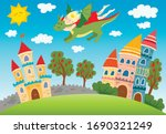 princess and dragon fly over a... | Shutterstock .eps vector #1690321249