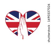 uk flag in a heart shape with... | Shutterstock .eps vector #1690337026