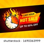 last hour hot sale banner.... | Shutterstock .eps vector #1690363999