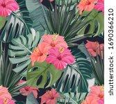tropical seamless pattern. palm ... | Shutterstock .eps vector #1690366210