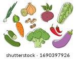 vegetables doodle drawing set...   Shutterstock .eps vector #1690397926