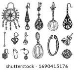 women's jewelry earrings....   Shutterstock .eps vector #1690415176