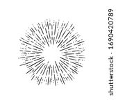 linear drawing of rays of the... | Shutterstock .eps vector #1690420789