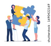 puzzle team concept. business... | Shutterstock .eps vector #1690422169