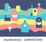 vector illustration. graveyard  ...   Shutterstock .eps vector #1690437640