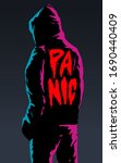 man in the hood under pink and... | Shutterstock .eps vector #1690440409