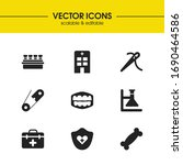 medical icons set with pin ...