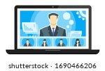5 panels online virtual remote...   Shutterstock .eps vector #1690466206