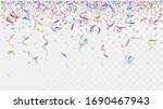 colorful confetti and ribbons... | Shutterstock .eps vector #1690467943