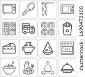collection of 16 meal outline... | Shutterstock . vector #1690473100