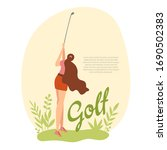 woman golfer hits the ball with ...   Shutterstock .eps vector #1690502383