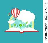 open book with air balloon ... | Shutterstock .eps vector #1690515610