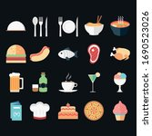 food and drink outline icon set ... | Shutterstock .eps vector #1690523026