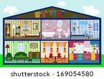 cute house in a cut. vector... | Shutterstock .eps vector #169054580