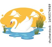 Swan In A Pond Illustration