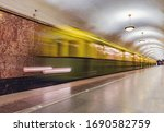 Retro subway train of A series departs from the platform. Moscow. Russia. Trains of A series were made from 1934 yy.
