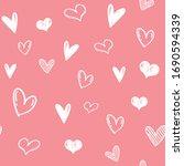 heart doodles seamless pattern. ... | Shutterstock .eps vector #1690594339