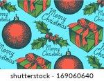 present box  ball and mistletoe ... | Shutterstock .eps vector #169060640