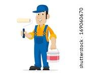 painter holds roller and bucket | Shutterstock .eps vector #169060670