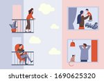 isolation of people during the... | Shutterstock .eps vector #1690625320