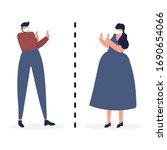 concept social distancing....   Shutterstock .eps vector #1690654066