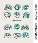 icon set   stop the spread of... | Shutterstock .eps vector #1690675303