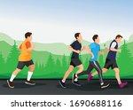 running men and women sports... | Shutterstock .eps vector #1690688116