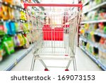supermarket interior  empty red ... | Shutterstock . vector #169073153
