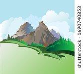 cartoon mountain landscape... | Shutterstock .eps vector #1690740853