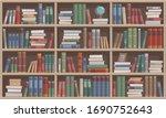 Wooden Bookshelves With Books....