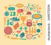 set of vector sport icons in... | Shutterstock .eps vector #169075334