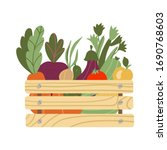 box with vegetables. mesh eco... | Shutterstock .eps vector #1690768603