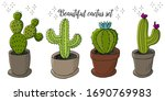 Set Of Cartoon Images Of Cacti...