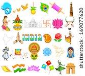 illustration of set of indian... | Shutterstock .eps vector #169077620