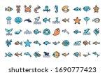 fill style icon set design sea... | Shutterstock .eps vector #1690777423