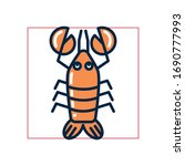 lobster fill style icon design... | Shutterstock .eps vector #1690777993