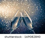 two champagne flutes with... | Shutterstock . vector #169082840